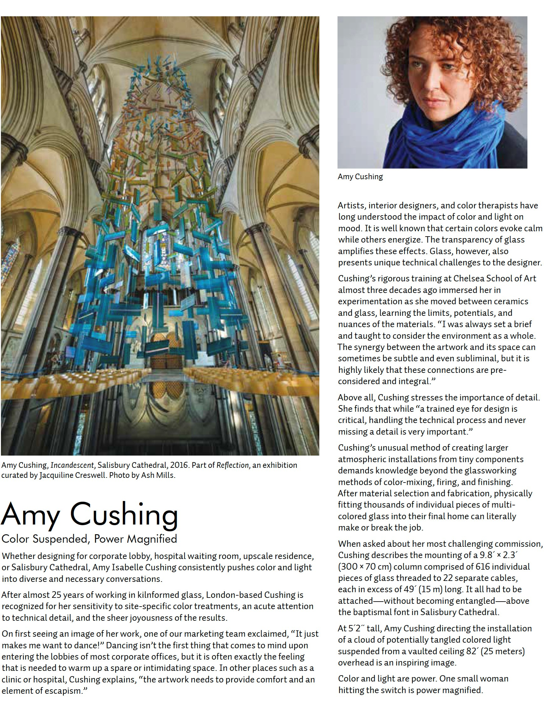 amy cushing incandescent hanging glass art installation at salisbury cathedral