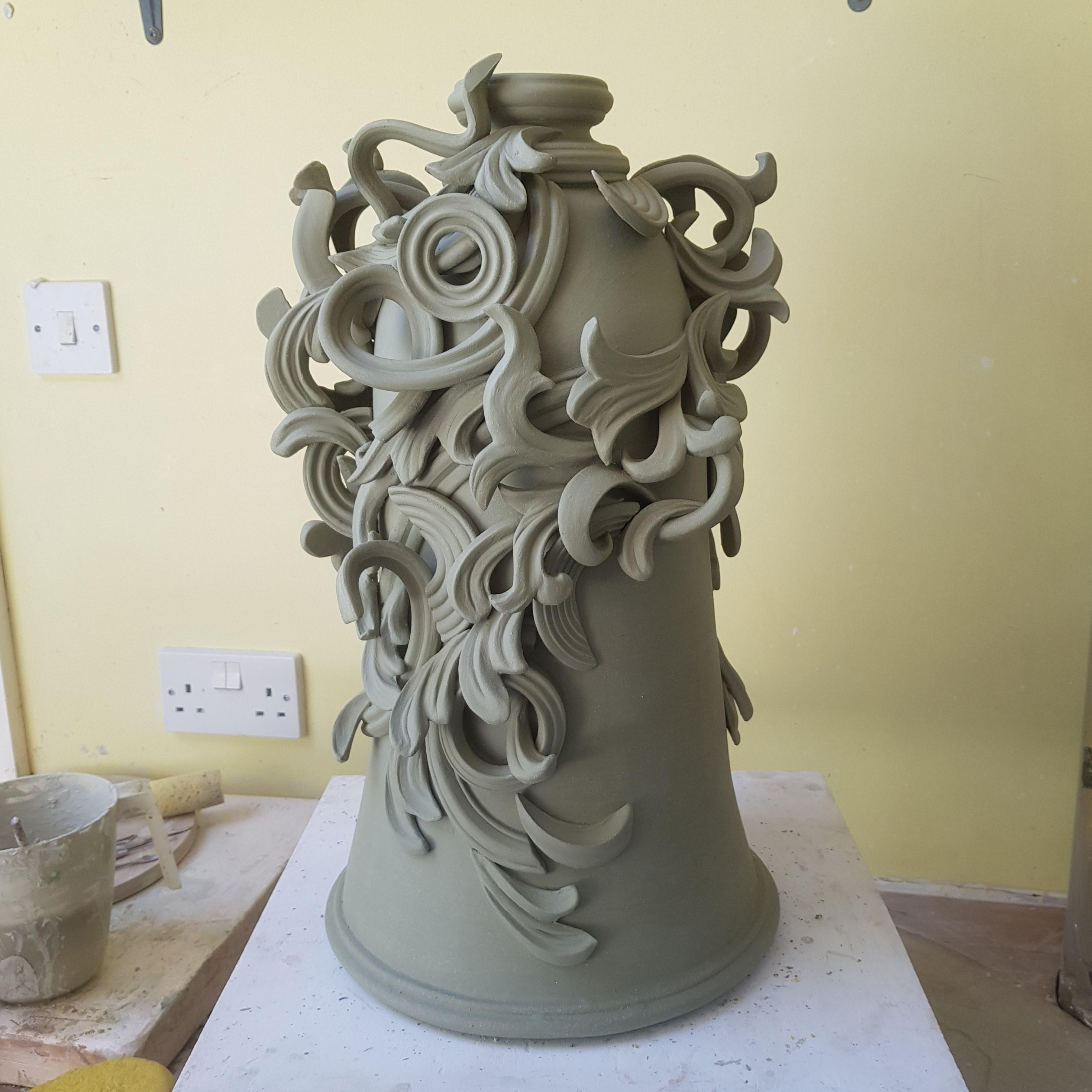 jo taaylor decorative vase art clay sculpture in progress