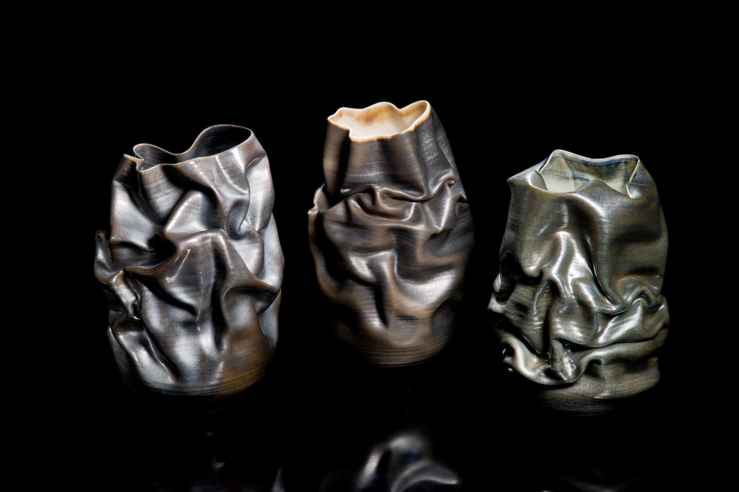 Black Crumpled Form ceramic vase sculpture by Nicholas Arroyave-Portela