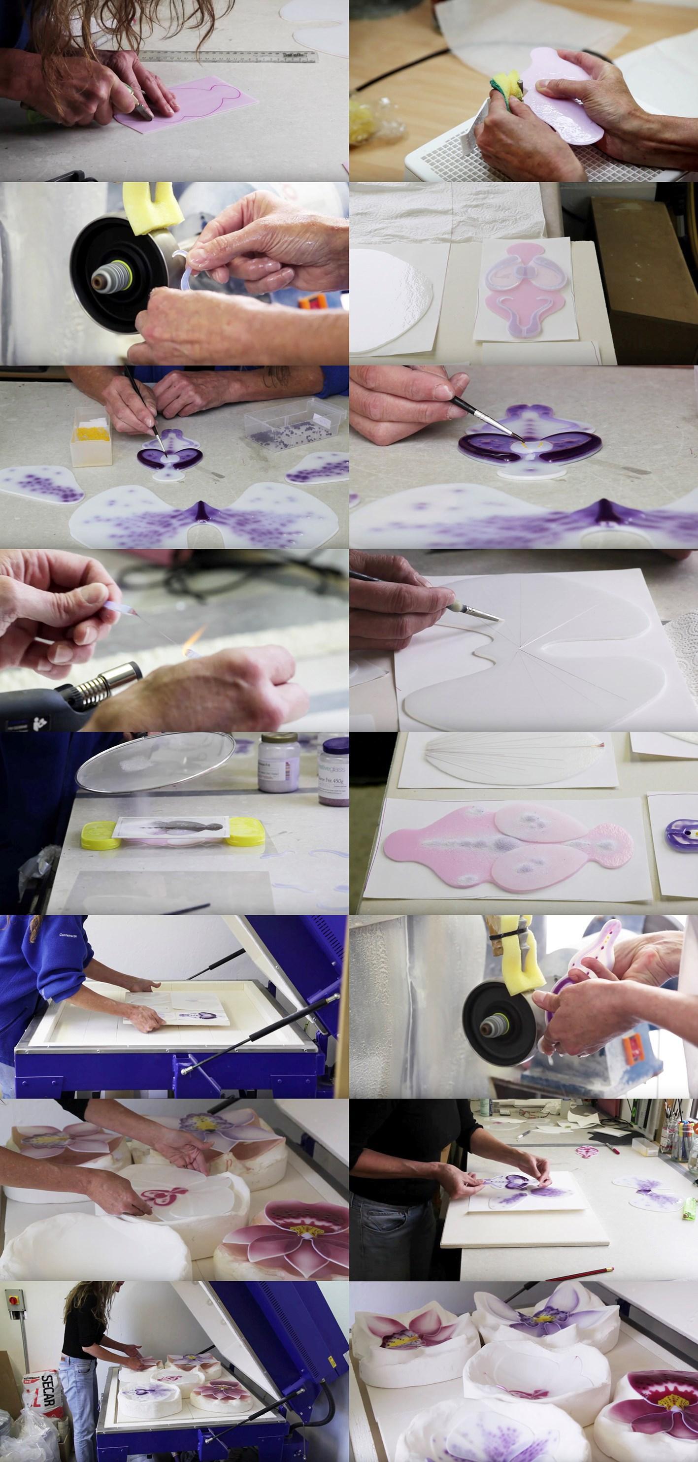 architectural glass art artist laura hart at work in studio