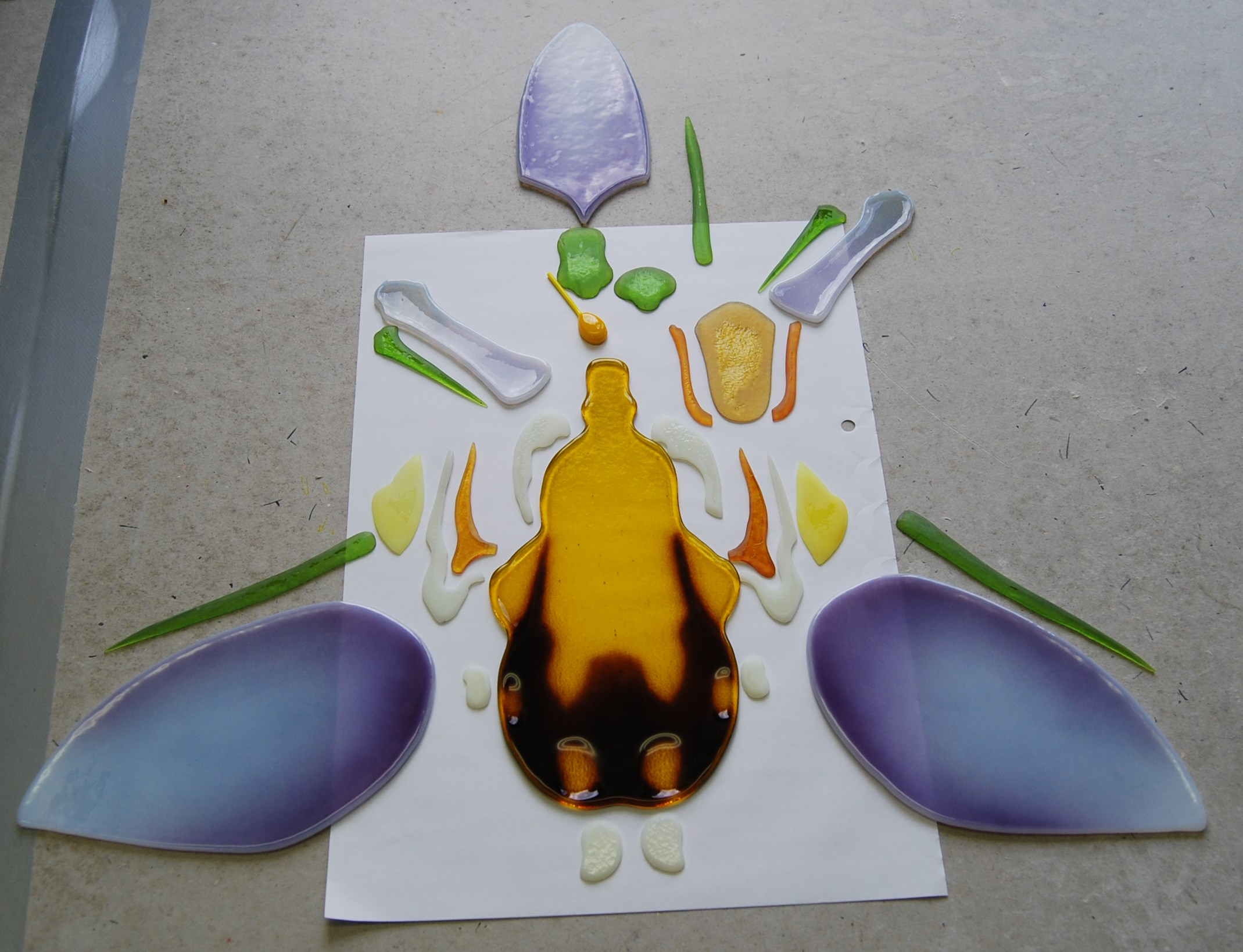 bee orchid decorative glass art from fused glass by laura hart