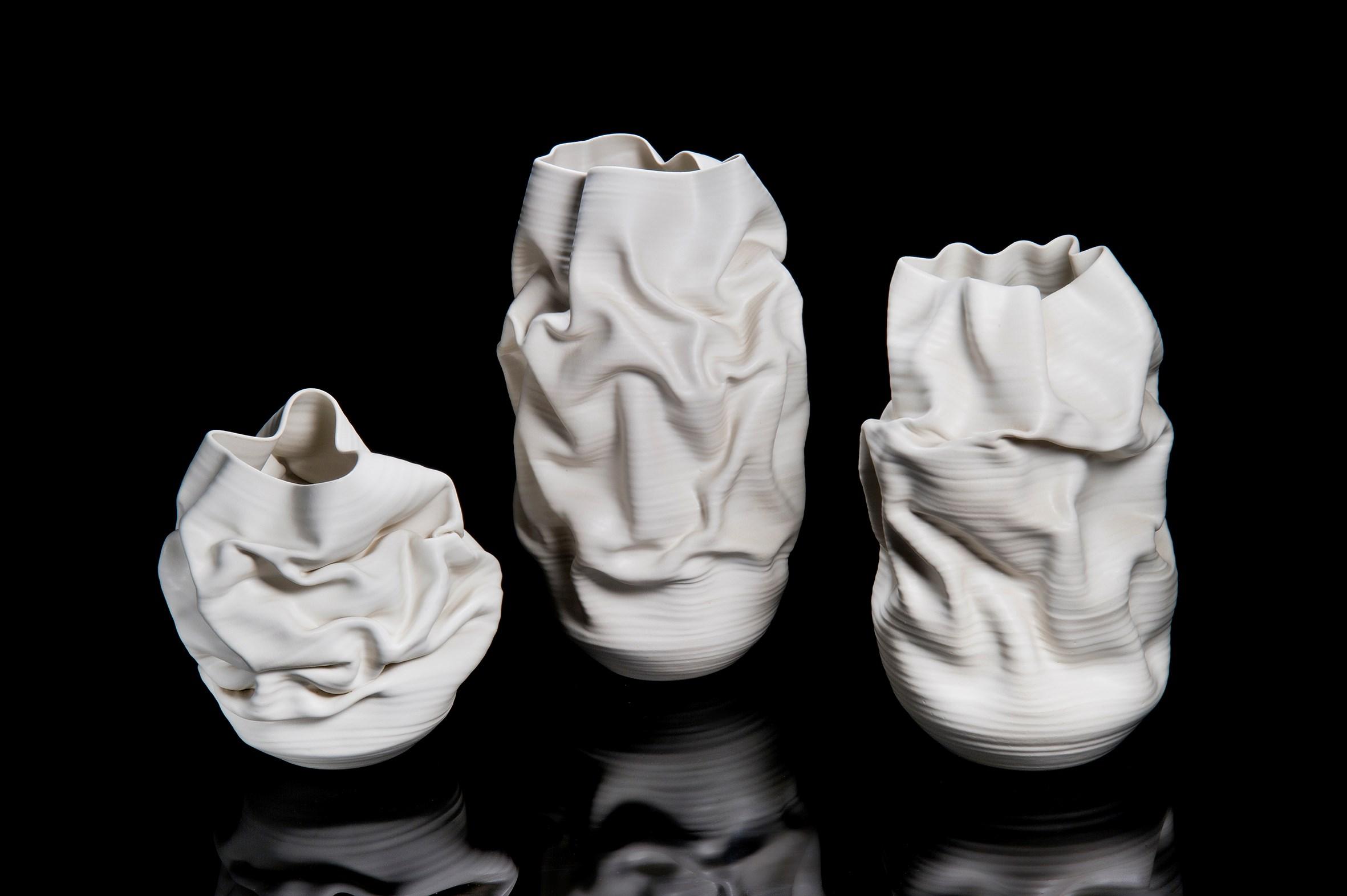 crumpled white ceramic vase art sculpture Nicholas Arroyave-Portela