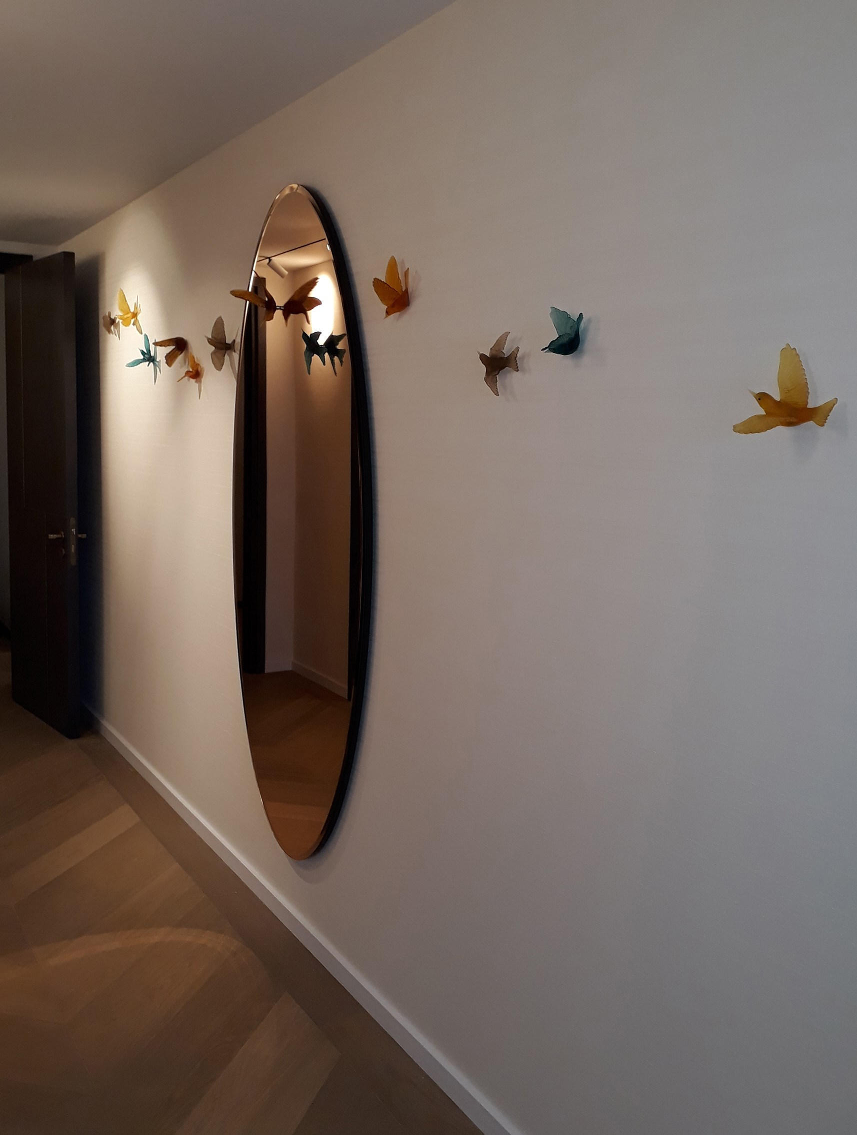 celestial mirror decorative mirror art with lukeke design birds at vessel gallery london