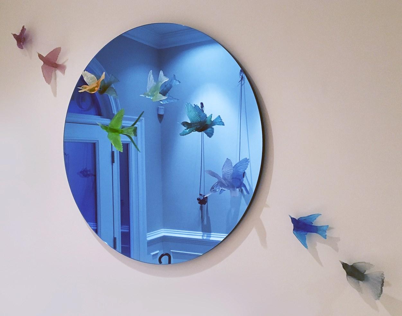decorative halllway mirror with lukeke designer bird sculptures
