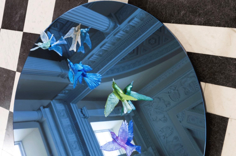hallway mirror with coloured glass birds by lukeke design new zealand