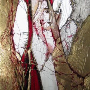 gold white and red modern art glass canvas of christian icon