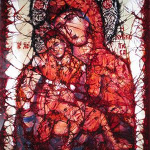 glass art canvas of virgin mary and child in red blue and light grey