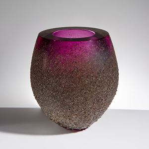decorative glass vessel with open top in purple coated in earthy brown speckles from bottom to near top