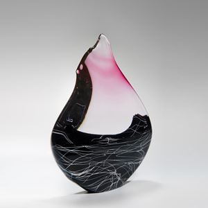 blown contemporary glass centrepiece sculpture in pink clear and black