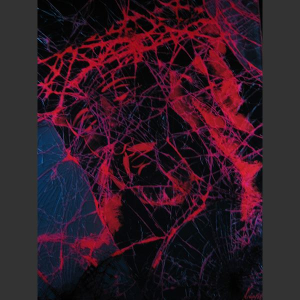 modern glass art painting of jesus in dark red blue black and purple