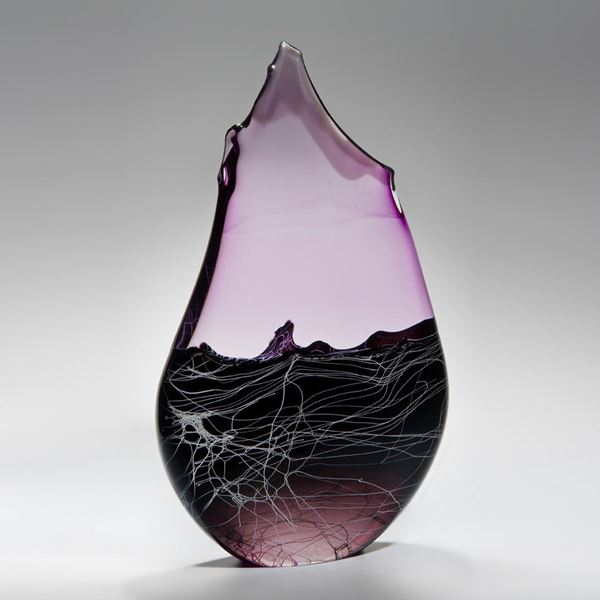 abstract teardrop shaped blown glass sculpture in pink and black swathes