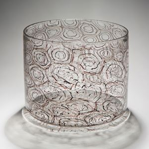 contemporary art-glass jar sculpture with swirl pattern exterior