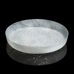 sculpted white decorative glass art platter dish