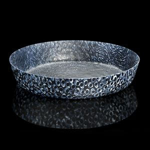 black silver and blue sculpted glass decorative platter with circular patterned edges