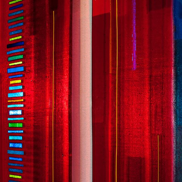 series of five fused glass wall mounted panels in dark blue red and orange shades