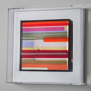 modern glass wall art in minimalist line colours in acrylic box