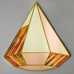 diamon shaped art glass wall hanging mirror sculpture in coral topaz