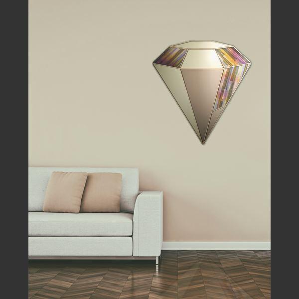 gold quartz diamond shaped wall hanging mirror sculpture