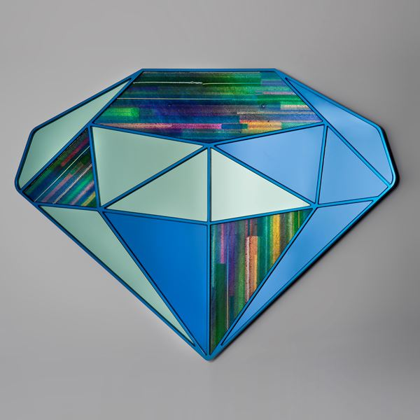 diamond shaped wall hanging mirror artwork in sapphire blue and green