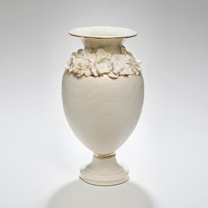 ceramic footed vase sculpture in white with forget me nots