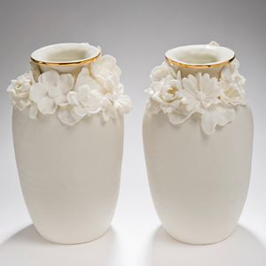 two small porcelain vases with gold lustre and floral decoration
