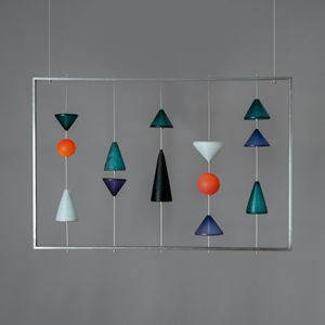 abstract modern glass wall art on steel frame
