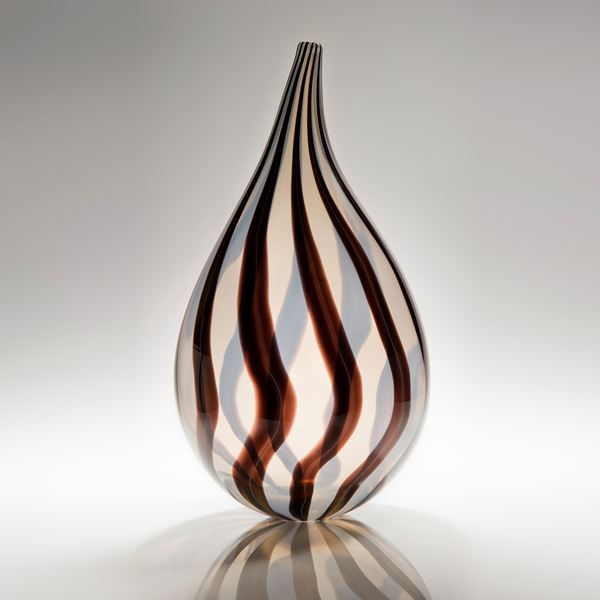 modern art glass vessel sculpture in red and white stripes