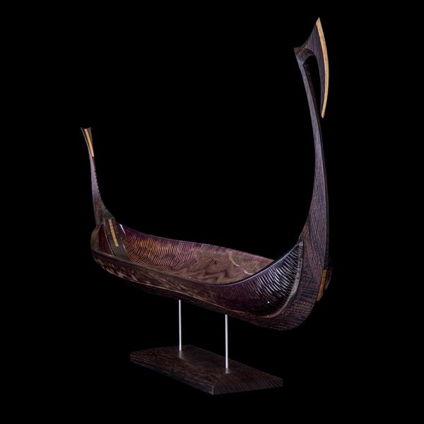 handblown glass and carved oak sculpture of Viking ship