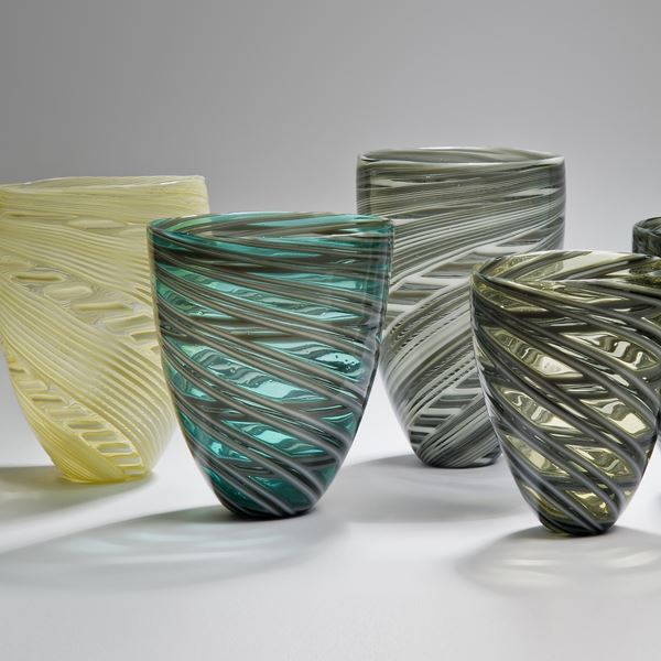 collection of free-blown art-glass short vases in yellow green and grey colours