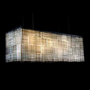 rectangular shaped glass light fitting in grey quilt patchwork style