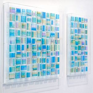 wall hanging glass art diptych in light blue and green colours