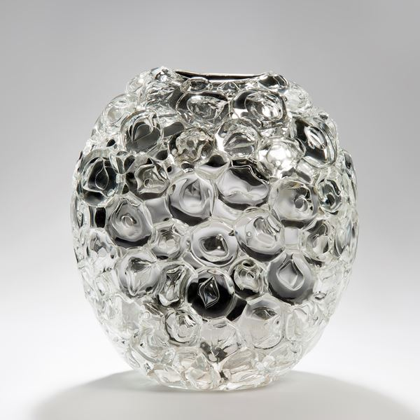 bubblewrap effect hand blown glass sculpture ornament with mirrored interior