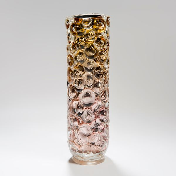 tall art-glass vase with mirrored interior in pink and gold