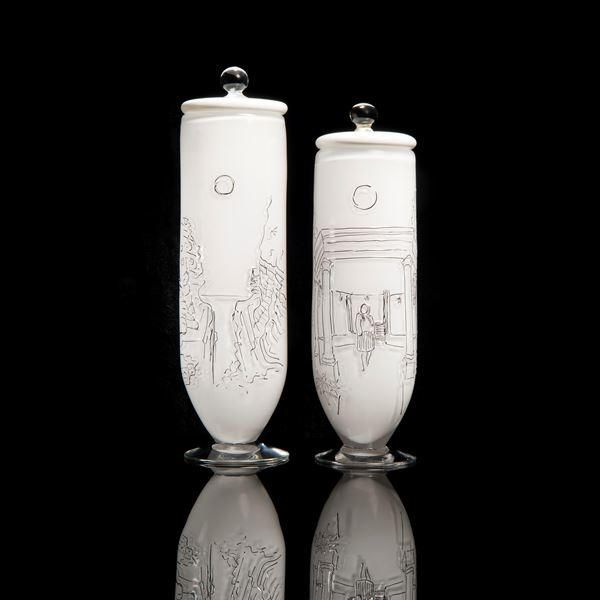 pair of tall art glass vessels with etching