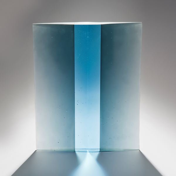 modern cast glass centrepiece art in blue and turquoise