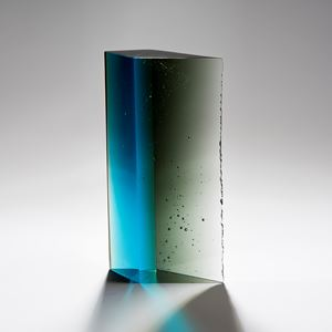 modern rectangular art glass sculpture in blue green and turquoise