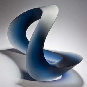contemporary abstract art-glass sculpture of wave form in blue