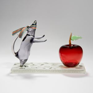 handblown and sculpted glass art of mouse and apple