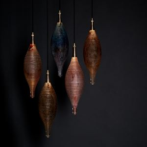 hanging lights in cast glass sculpture modern art-glass