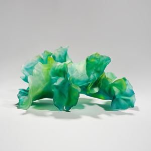 contemporary art-glass sculpture of leaves in bright green