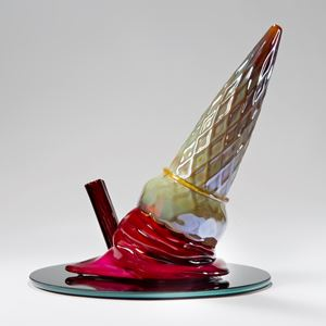modern abstract art glass sculpture with ice cream cone and flake