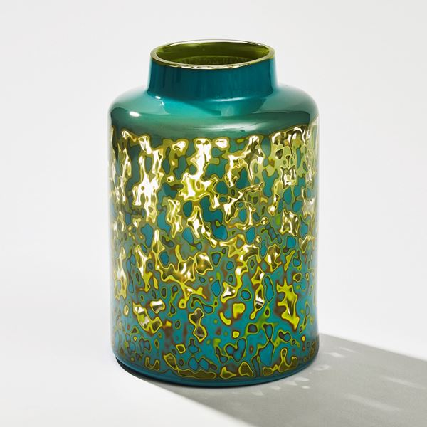 handblown turquoise glass jar sculpture chinese