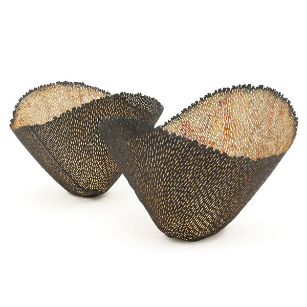 two flared vessels sculpted from metal and wood with dark brown mesh exterior and beige interior