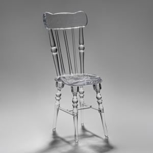crystal art glass sculpture of repast chair