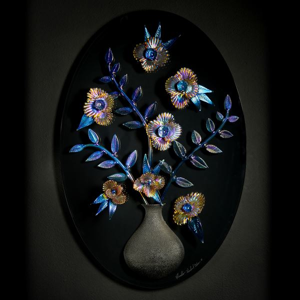 wall hanging art glass sculpture of flowers in vase