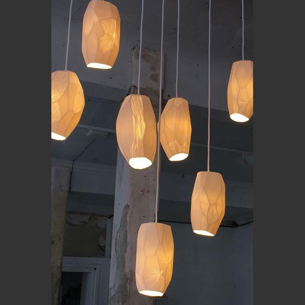 modern art sculpture amber coloured porcelain lightshade