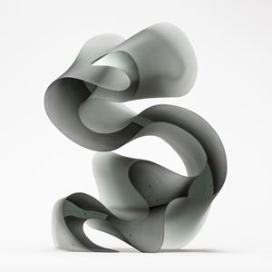 contemporary abstract glass art sculpture of swirly line in grey