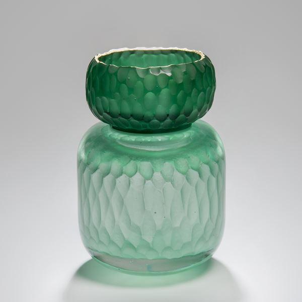 green sculpted glass jar artwork