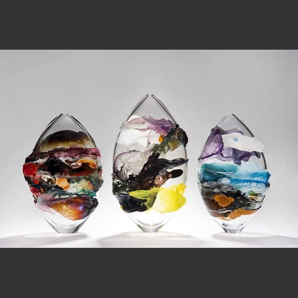 colourful modern handblown art glass vessel sculpture