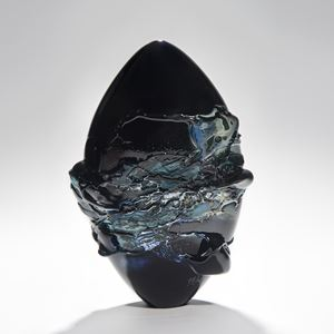 abstract modern handblown glass sculpture in black and turquoise